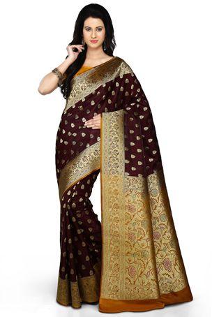 5e104123e5f5a0 Dark Maroon and Mustard Art Banarsi Satin Silk Saree with Blouse ...