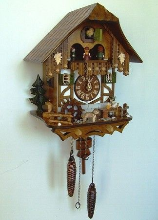 9 Inch Quartz Cuckoo Clock with Hand Painted Carving of Roses