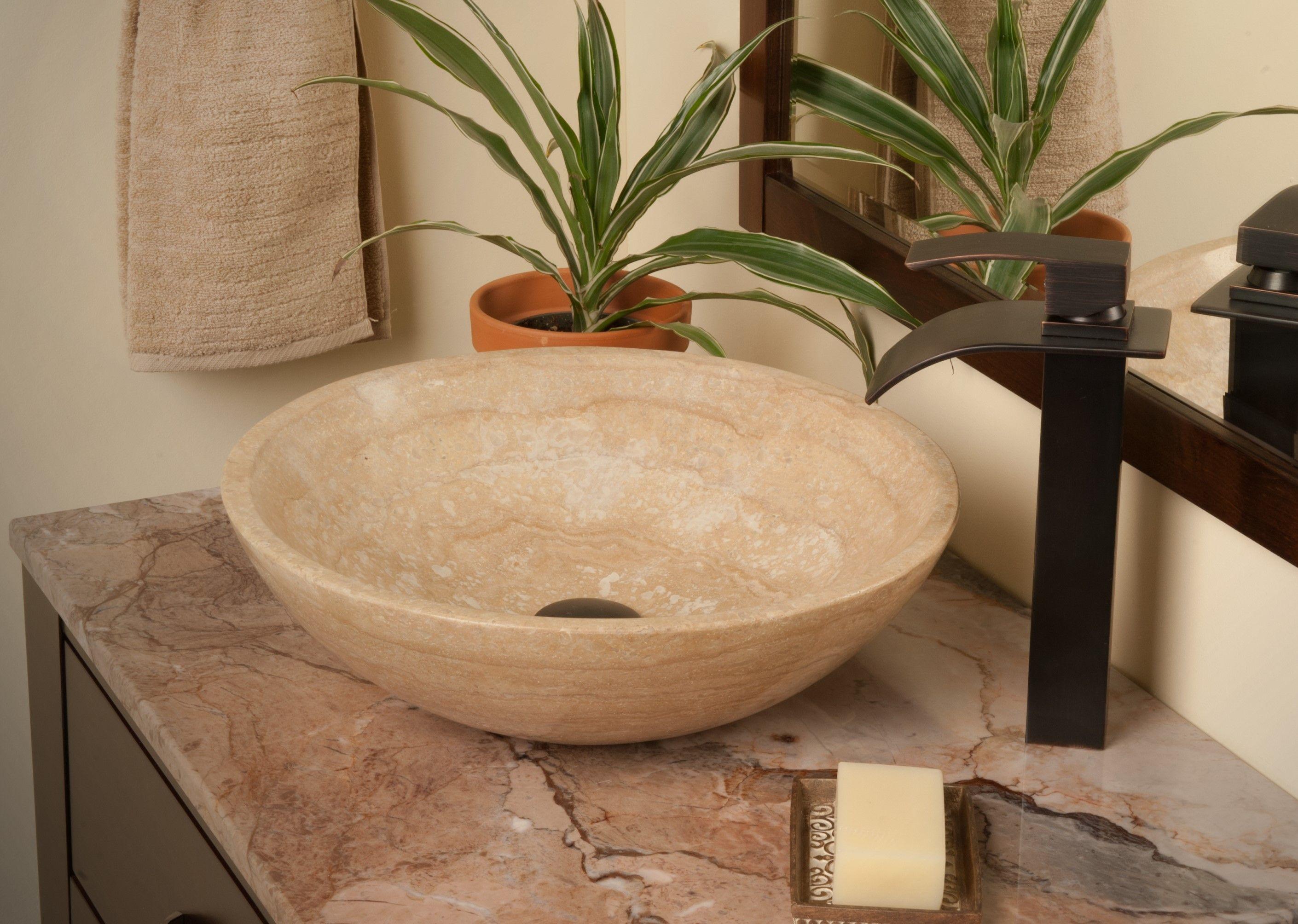 Round Beige Travertine Stone Vessel Sink Combo Nsfc Bt136orb