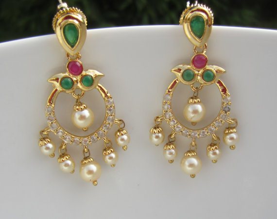 74c25f70a On Sale Ruby Emerald and Pearl Chandbali Chaandbalis by Alankaar. On Sale  Ruby Emerald and Pearl Chandbali Chaandbalis by Alankaar Indian Jewellery  Online ...