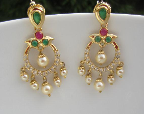 35d94b3354d3e Ruby, Emerald and Pearl Chandbali, Chaandbalis, Indian Jewellery ...