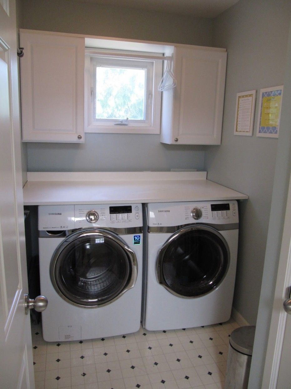 Inspiration Interior. 25 Small Laundry Room Ideas Smart And Space Savvy  Designs: Interesting White Hardwood Wall Mount Cabinets Over Front Load  Washing ...