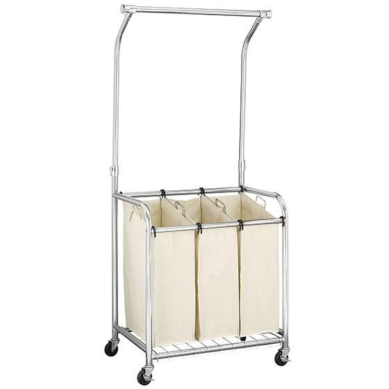 Chrome Triple Laundry Cart With Adjustable Hanging Bar Rolling