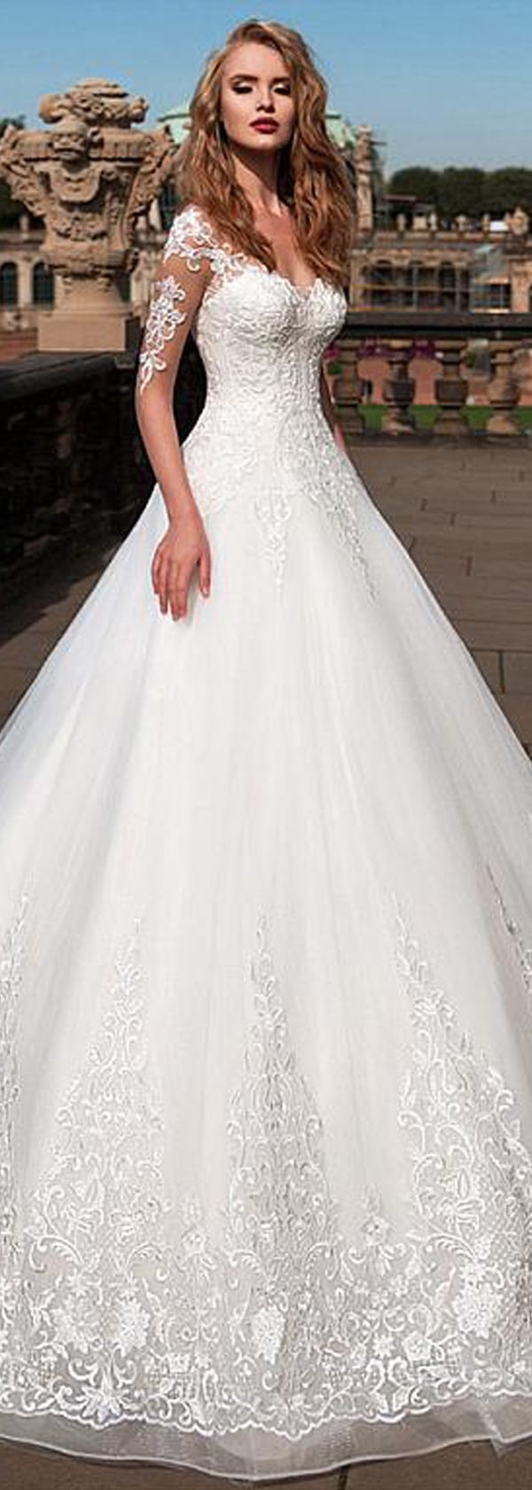 [285.60] Attractive Tulle Sheer Bateau Neckline A-Line Wedding Dress with Lace Appliques #spitzeapplique