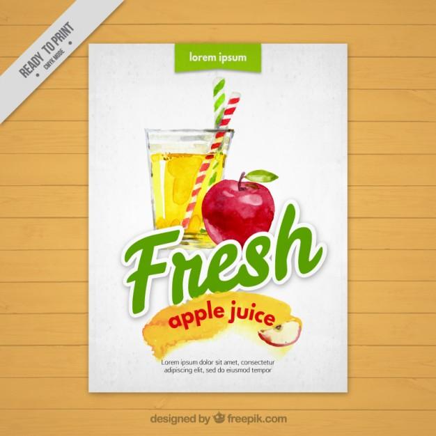 Download Watercolor Flesh Apple Juice Brochure For Free Apple Juice Juice Apple