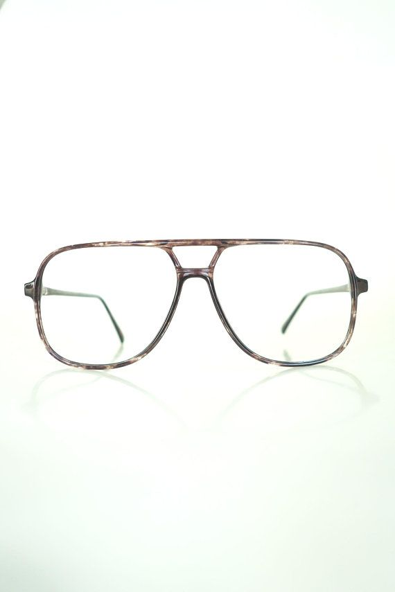 b89b30571d4 Mens Vintage Glasses - 80s Oversized Aviator Eyeglasses - Mens NOS ...