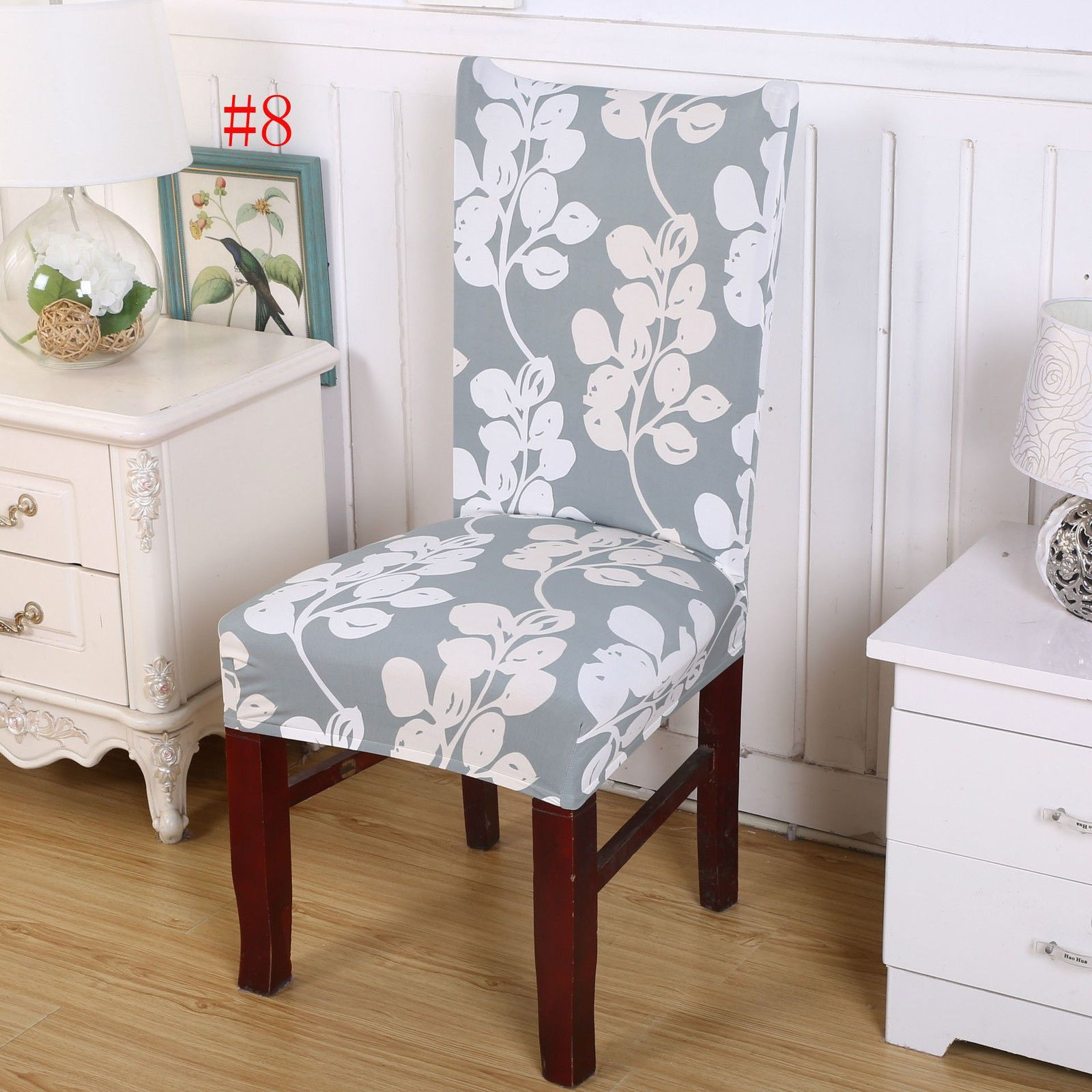 Short Dining Room Floral Chair Seat Removable Elastic