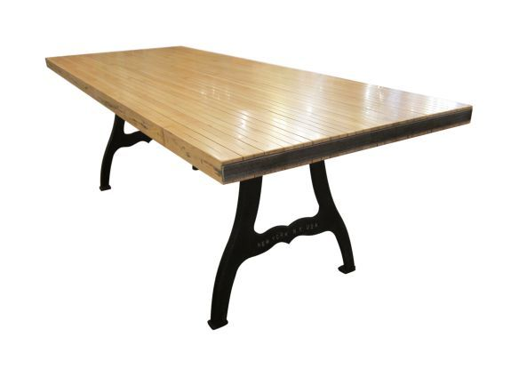 ... Flooring Refinished Into Unique Farm Table. This Particular Table  Features New York Industrial Legs And A Metal Rim Trim. See More At Olde  Good Things