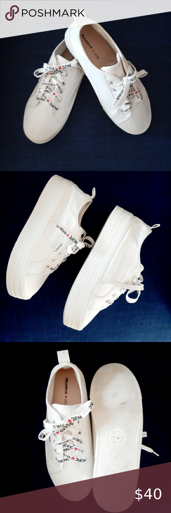 Pull And Bear White Chunky Sole Trainers Sz 7 Women S White Fabric Lace Up Trainers With The Slogan Pacific Lace Up Trainers Women Shoes Womens Shoes Sneakers