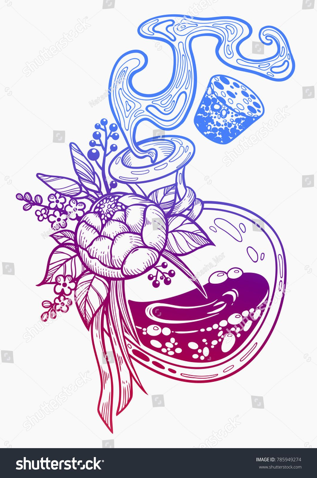 Hand Drawn Magic Bottle Vial With Flower Gothic Style Vector