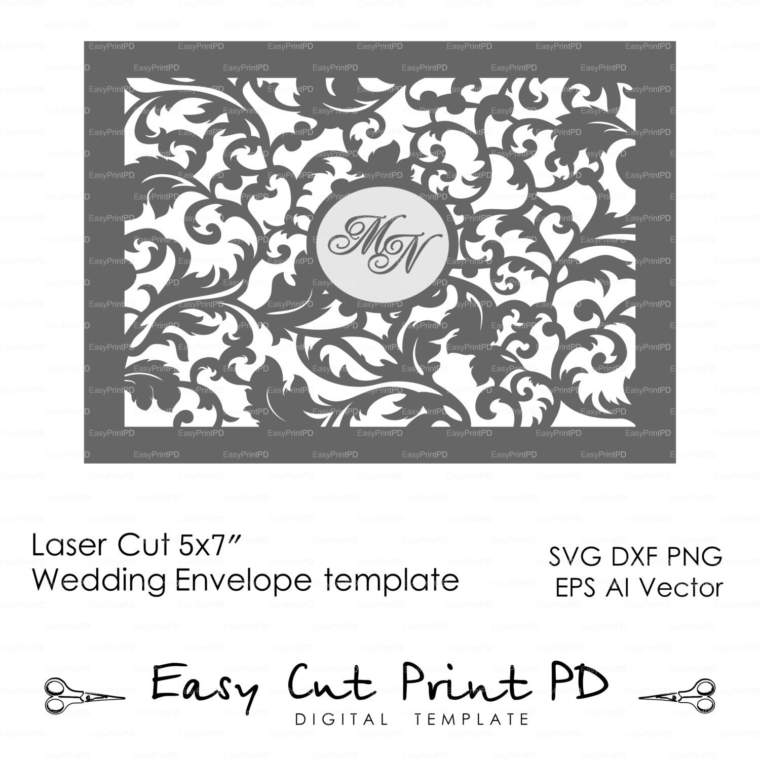 X Wedding Leaves Envelope Template Laser Stencils Cutting Svg