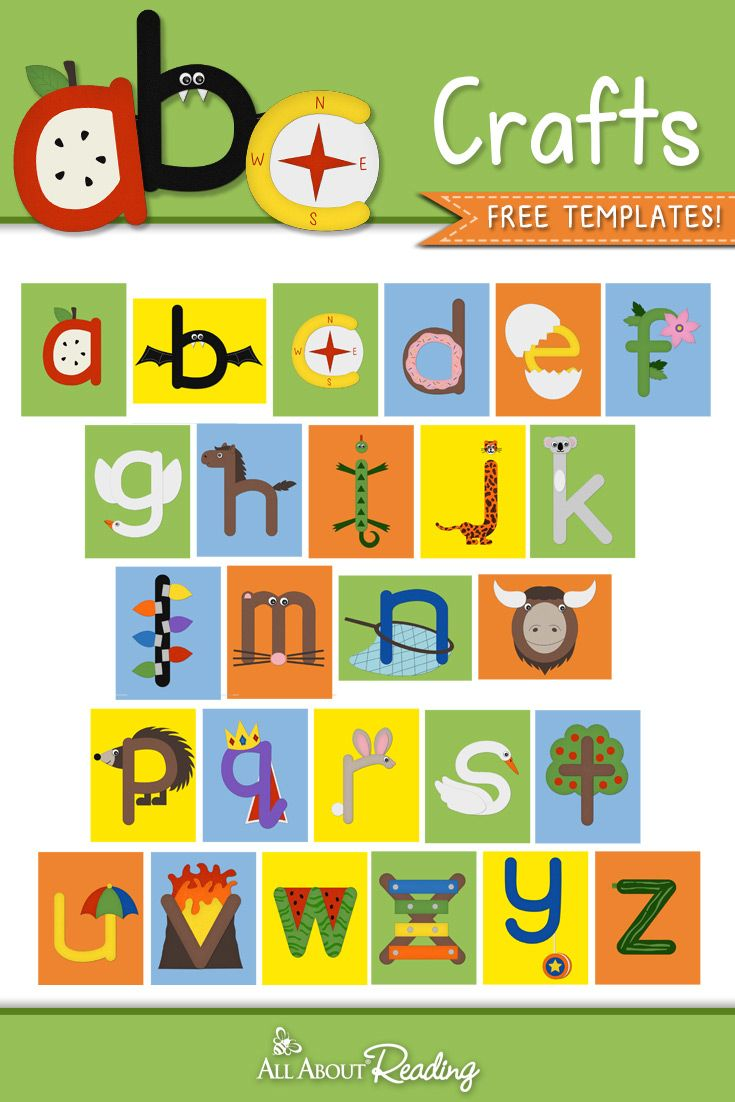 ABC Crafts for Lowercase Letters  26 Free Alphabet Craft Downloads - Letter a crafts, Abc crafts, Alphabet crafts, Free craft templates, Lower case letters, Scrapbook fonts - Looking for some easy alphabet practice for your preschooler  Download our FREE ABC Crafts Lowercase Letter series and create 26 lowercase alphabet crafts!