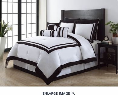 12 Piece King Hotel Black and White Bed in a Bag Set $125 | home