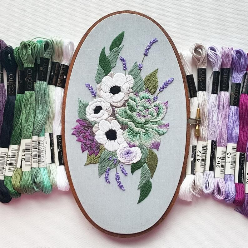Hand Embroidery PDF Anemones and Succulents Thread