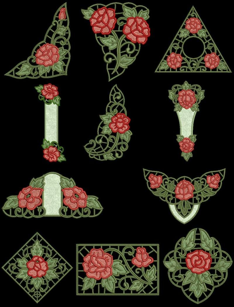 Exotic rose cutwork machine embroidery design cd for
