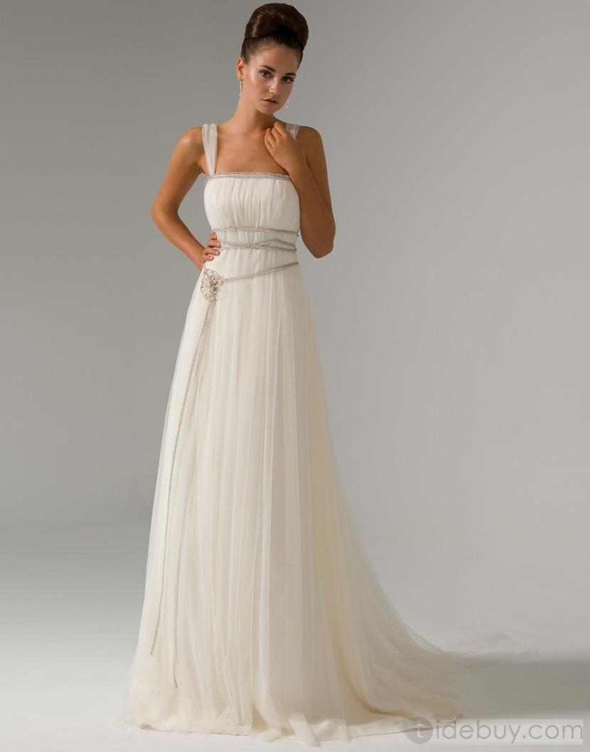 Elegant empire straps watteau train pin wedding dresses columns