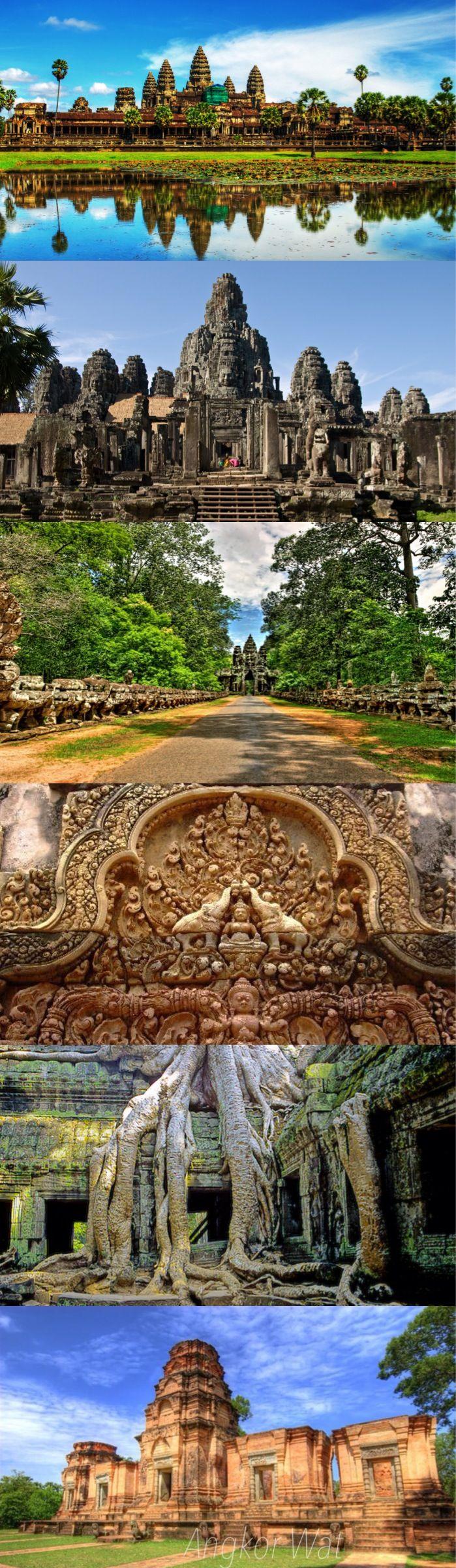 Angkor Wat, construido durante los primeros años del siglo XII por Suryavaram II, honra al dios hindú Vishnu y es una representación simbólica de cosmología hindú. Consistiendo en un enorme templo que simboliza Mt mítico. Meru, sus cinco interanidaron paredes rectangulares y fosos representan las cadenas de montañas y el océano cósmico.
