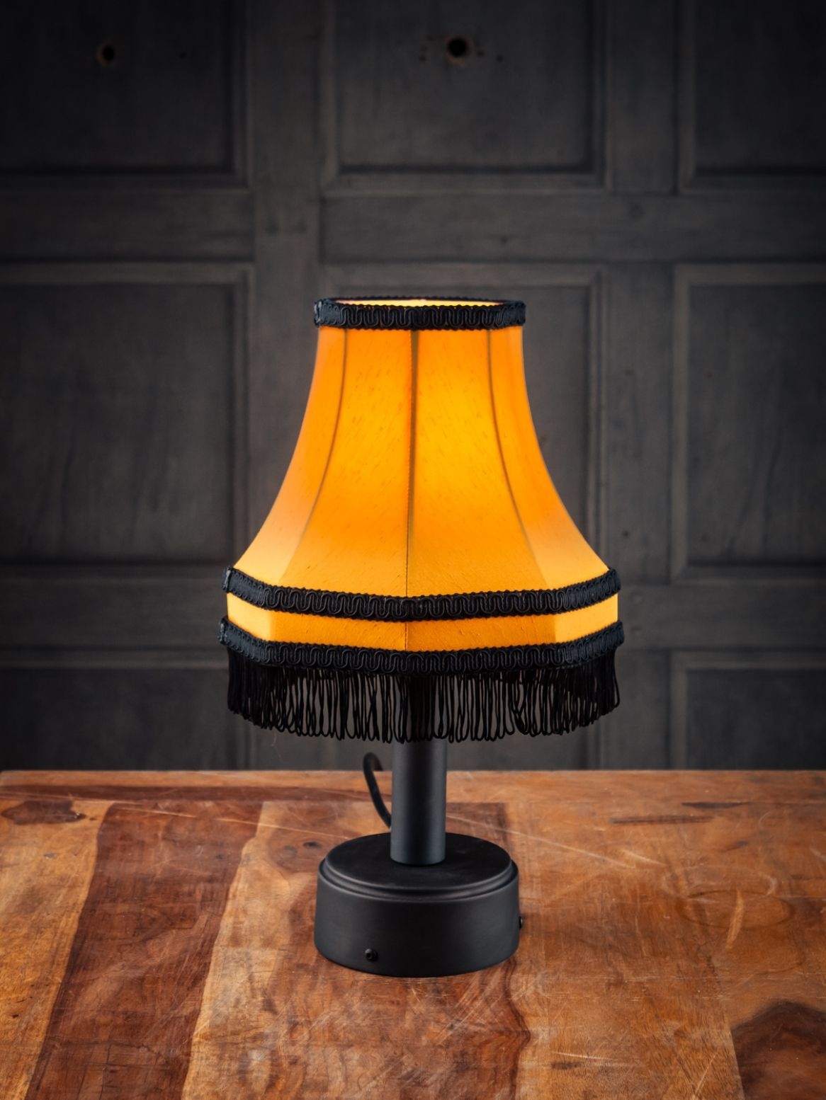 TABLE LAMP WITH GOLD SHADE AND BLACK FRINGE in 2020