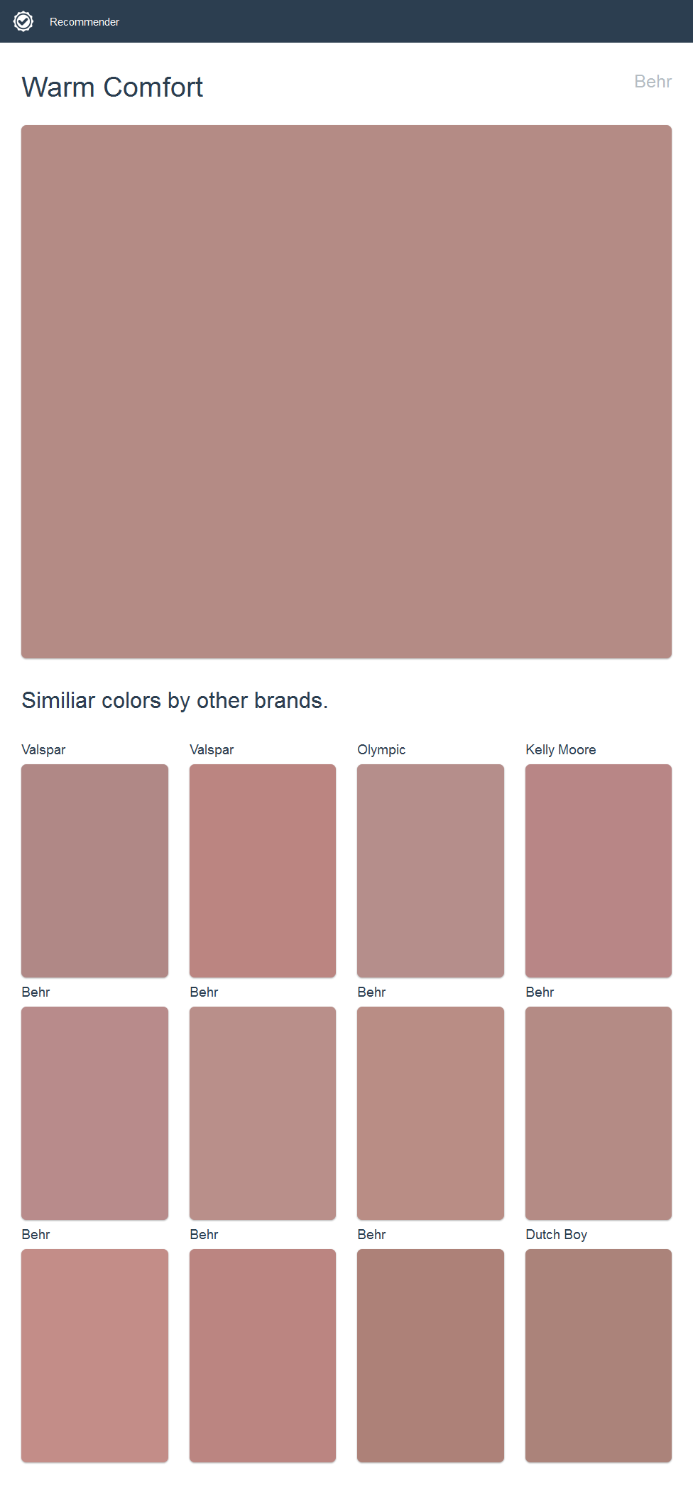 Warm Comfort, Behr. Click the image to see similiar colors by other brands.