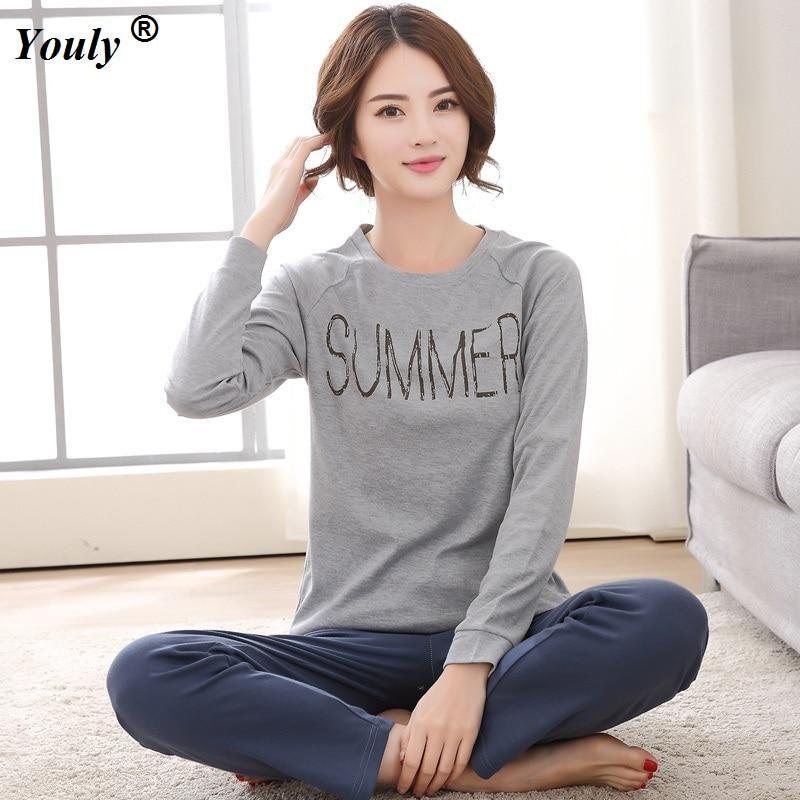 Plus Size XXXL 2018 Women Pajamas Sets Cotton Nightwear Long Sleeve Pyjamas  O-Neck Sleepwear 18839f472