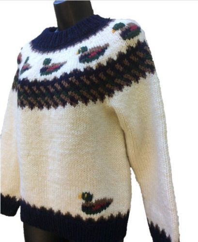 Vintage 80s Orvis Wool Sweater Mallard Duck Fair Isle Preppy ...