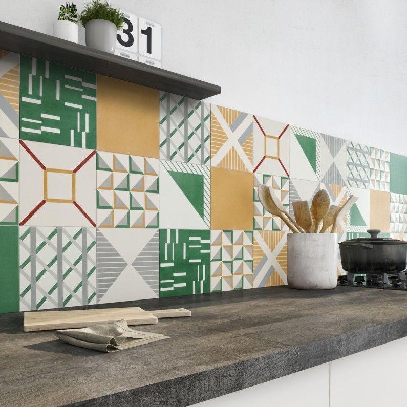 Embellir sa cuisine avec des carreaux de ciment vert et orange ...