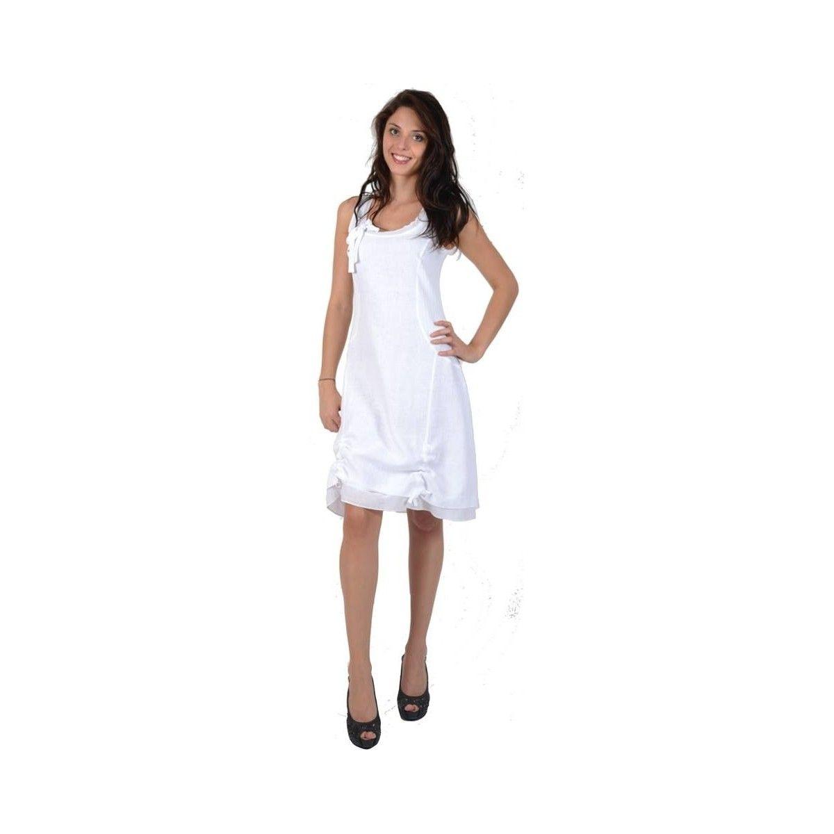 d73f07d7ced Robe blanche en lin et coton marque Maloka - Mode-lin