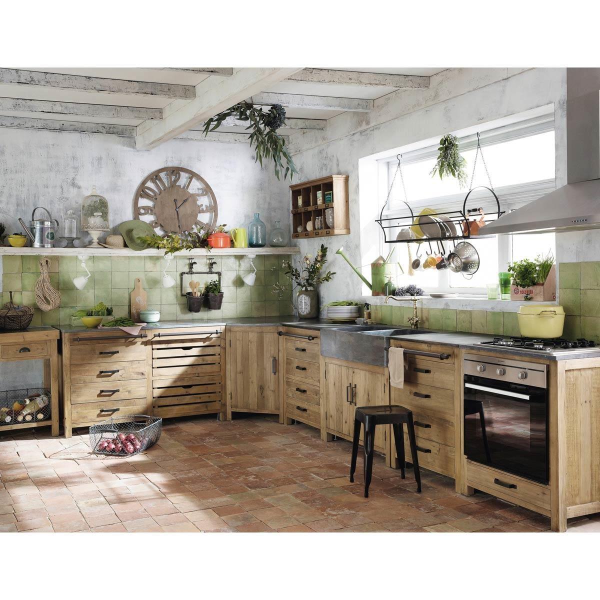 meuble bas de cuisine avec evier en bois recycle l 90 cm pagnol maisons du monde