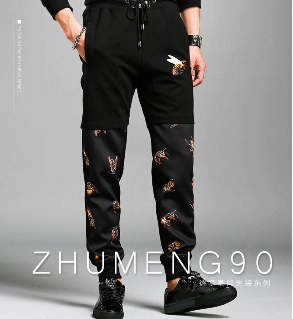 ce666ffea91 M-4XL ! Winter male bee pattern casual trousers trend personality trousers  health pants fashion harem pant trousers