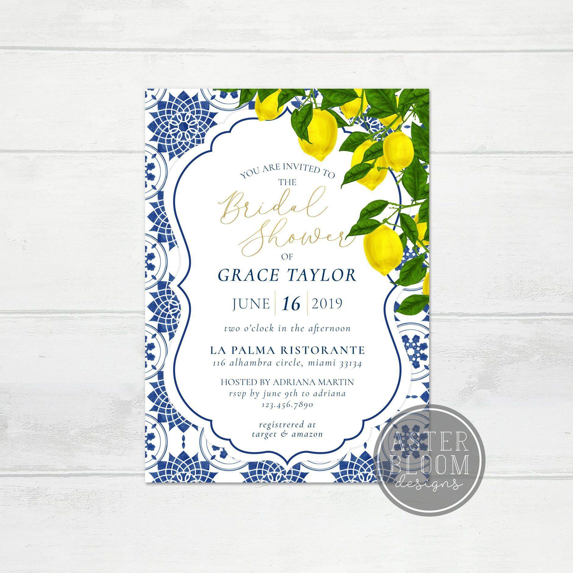 Lemon Bridal Shower Invitation Moroccan Blue Tile