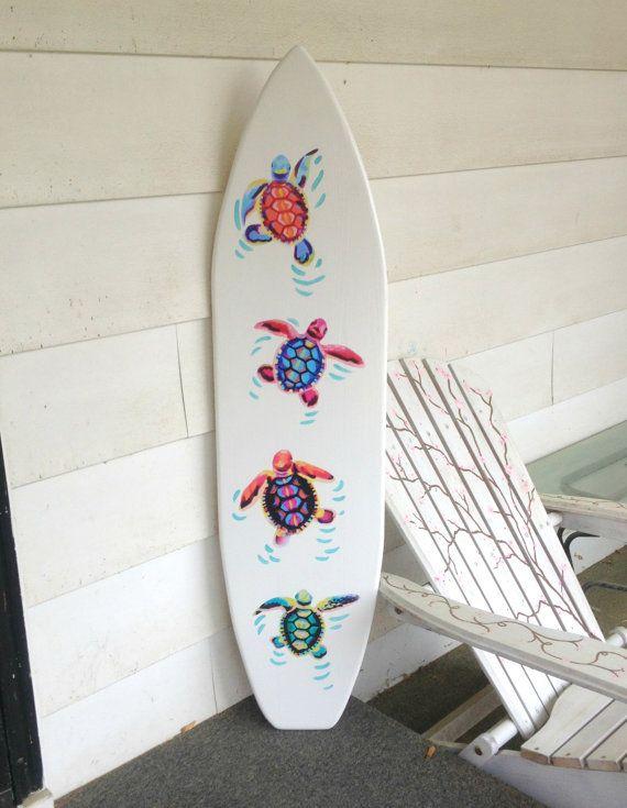 4 Foot Wood Surfboard Wall Art With Vinyl Turtle Appliques Handpainting Headboard Kids Room Decor Wood Surfboard Surfboard Painting Surfboard Decor