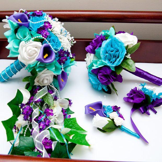Cascading silk flower bridal wedding bouquet in purple, aqua teal ...