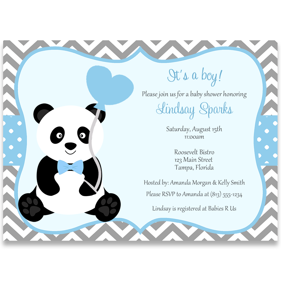 Panda Baby Shower, Boy, Invitation | Heart balloons and Baby shower fun