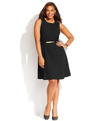 4189c7c4dc2 Calvin Klein Plus Size Sleeveless Belted Flared Dress - Dresses - Plus Sizes  - Macy s