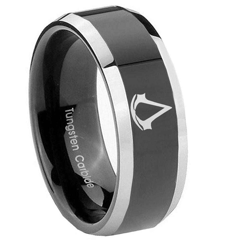 8mm Assassin's Creed Beveled Glossy Black 2 Tone Tungsten