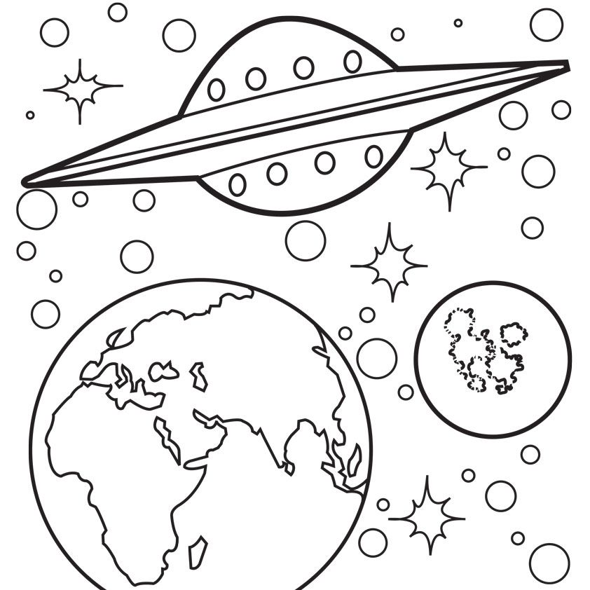 outer space coloring pages free google search - Space Coloring Pages