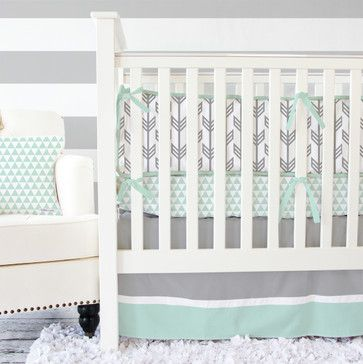 Mint And Gray Arrow Crib Bedding Transitional Baby