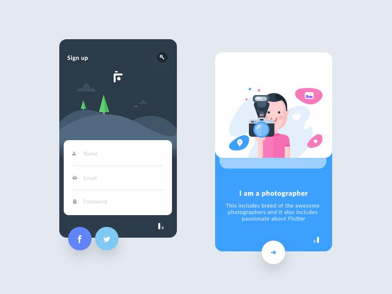 Sign Up Steps for flutter | 启动页插画 | App ui design, App