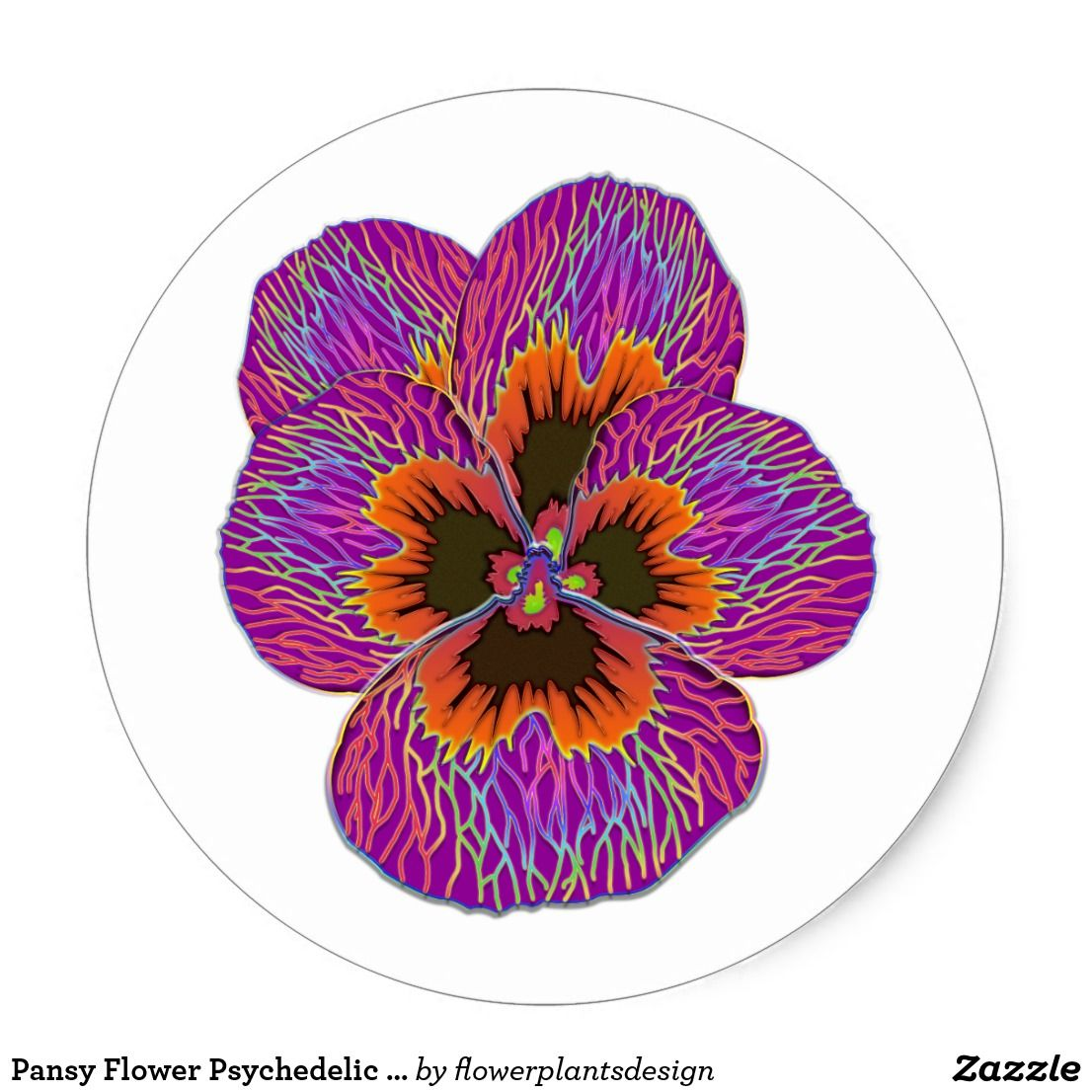 Pansy flower psychedelic abstract classic round sticker