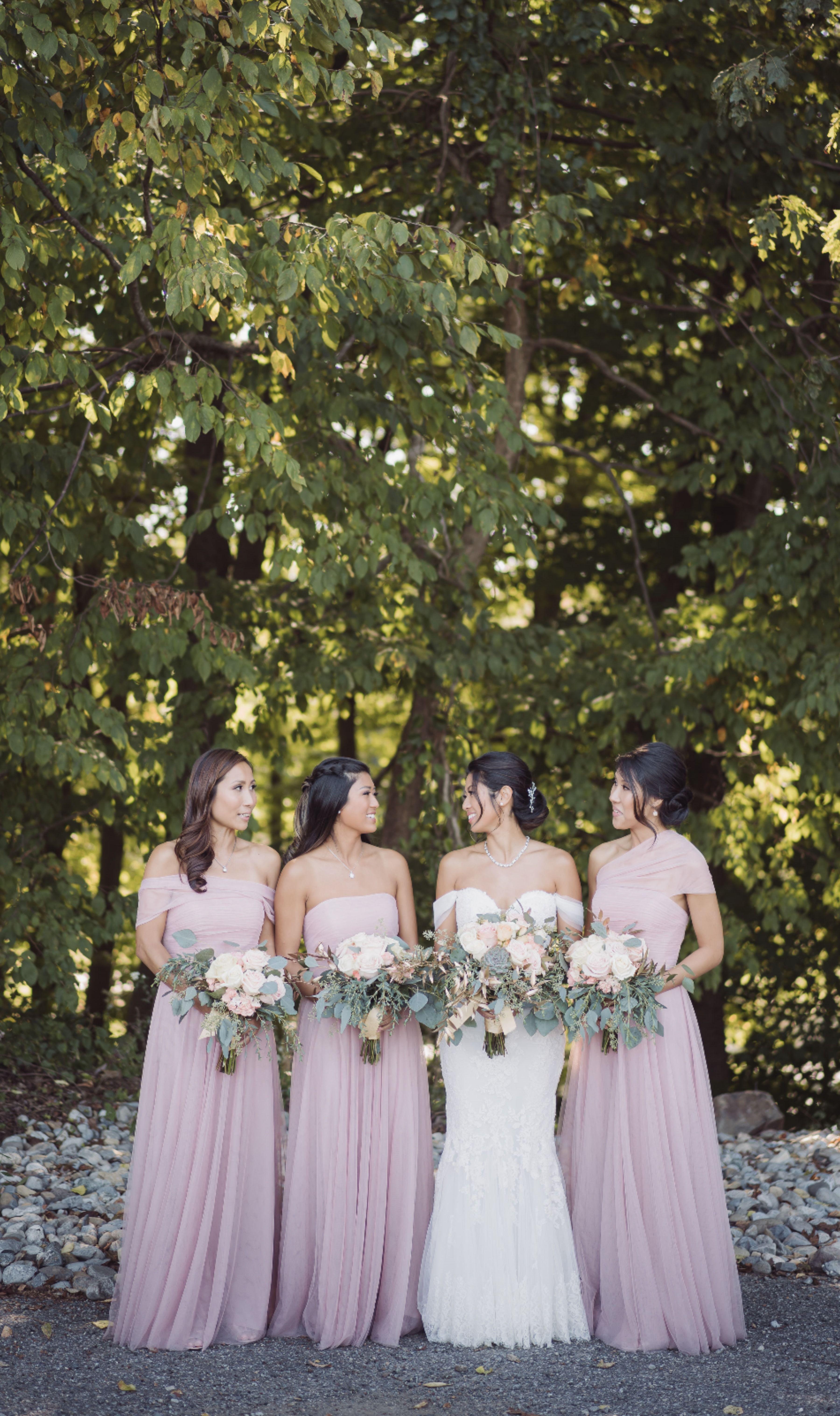Light pink/purple bridesmaids dresses