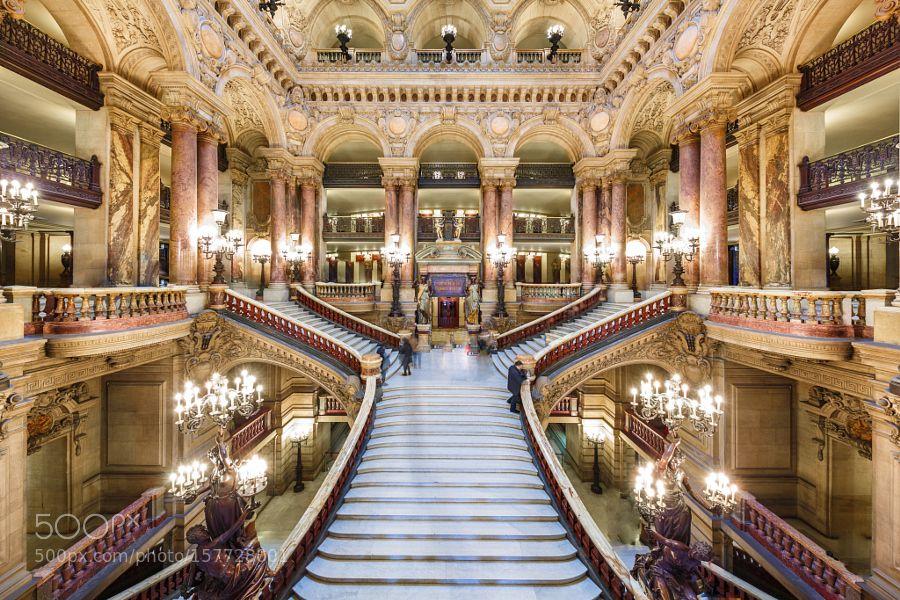 The Main Stair inside Opera Garnier in Paris by Loic80l
