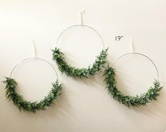 Photo of Set of 3 – Nursery Floral Hoop Wreaths, 19″ , 14″, and 10″ with laser cut name, Floral Wreaths For Nursery, Floral Wreaths Backdrop