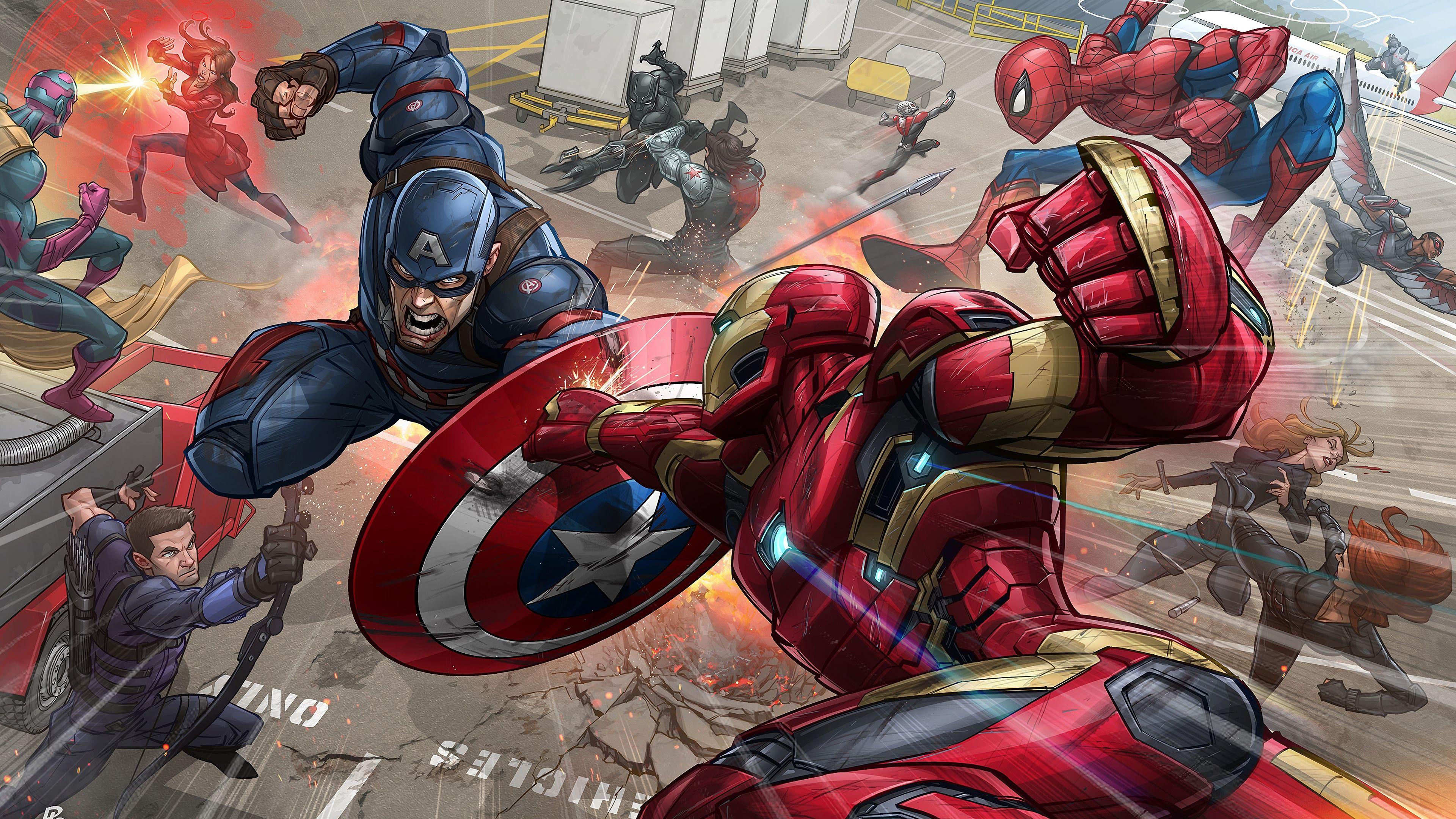 Iron Man Captain America Fight Marvel Comics 4k Wallpaper Marvel Comics Iron Man Comics Captain America Captain America Civil War Civil War Art Marvel