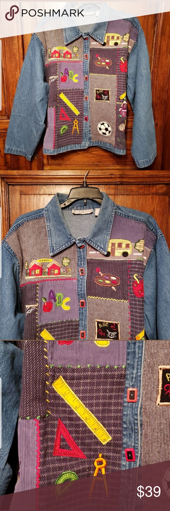 Vintage Denim Jacket Back to School Teacher sz XL Vintage