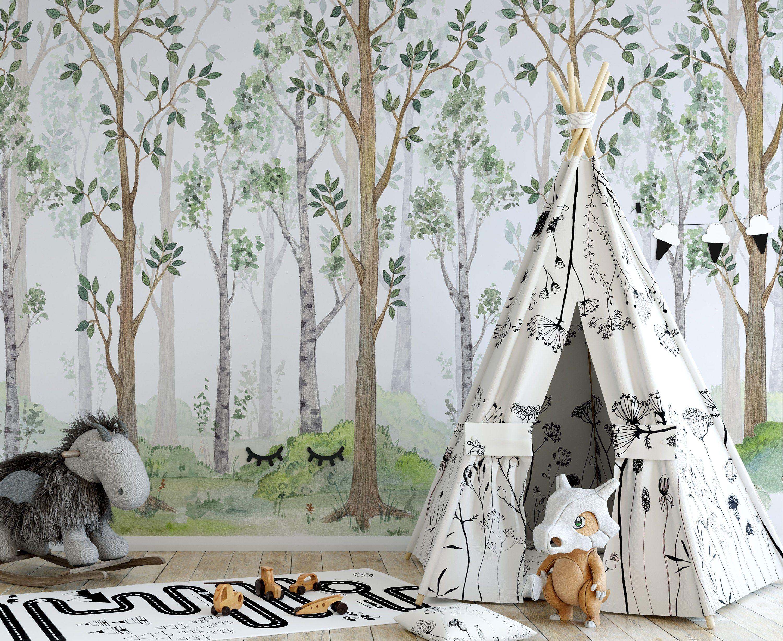 Watercolor Illustration Fairy Forest Children S Interior Etsy Interior Wallpaper Nursery Wallpaper Childrens Interiors