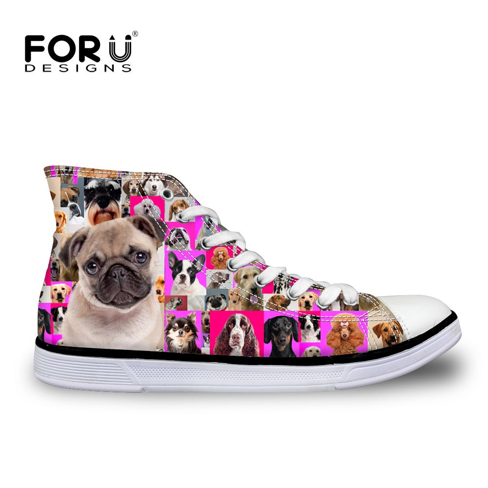 Lovely Pugs Women's Casual Sneakers Flat Lo-Top Cute Designer