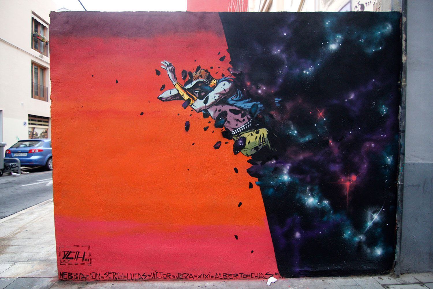 """Our friend Deih is back on the streets of his hometown, Valencia in Spain where he just finished working on this brand new piece. The popular Spanish artist quickly worked his way through this signature piece showing one of his comic-like characters emerging from a galaxy. """"Be careful, there is gravity out there"""" –Deih More"""