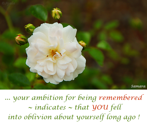 ... your #ambition for being #remembered  ~ indicates ~ that #YOU fell into oblivion about yourself long ago !