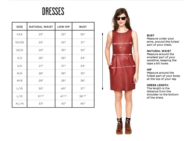 Clothing size charts measurement guide madewell madewell