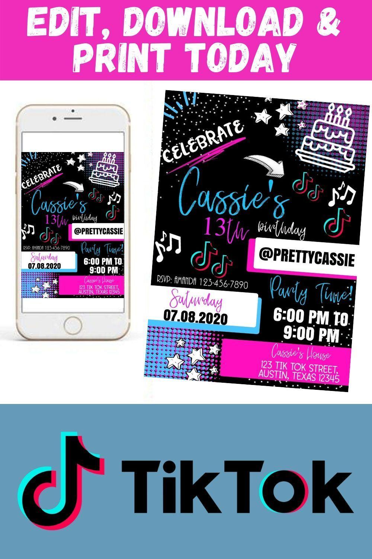 Editable Tik Tok Girls Birthday Party Invitation Birthday Party Invitations Printable Birthday Party Invitations Free Party Invite Template